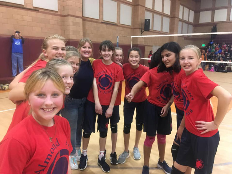 Almond Acres middle school volleyball team