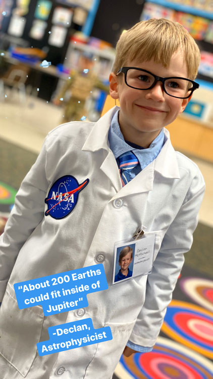 Almond Acres Charter Academy student dressed as astrophysicist