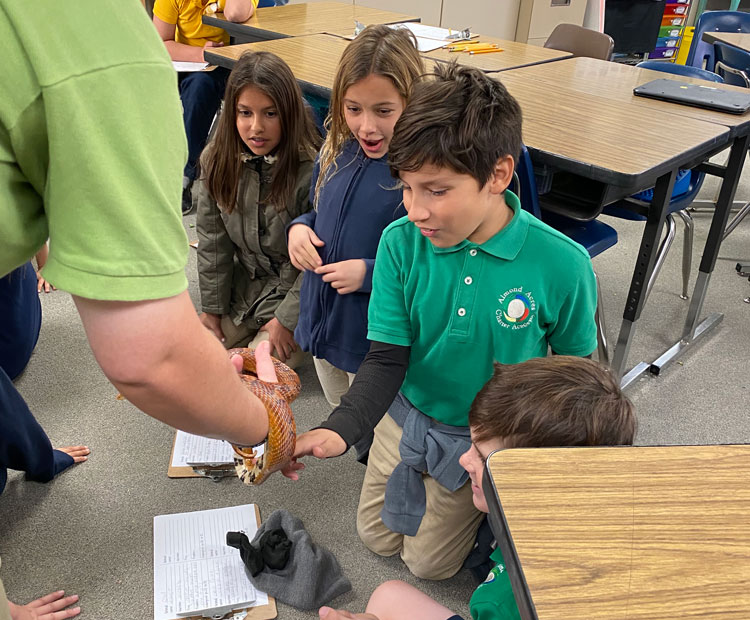 Four Almond Acres Charter Academy students have the opportunity to touch a snake with the help of a community adult